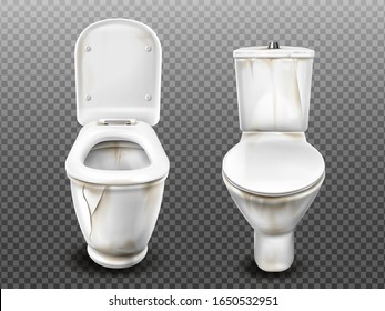 Old dirty toilet bowl with flush tank, open and closed seat lid. Vector realistic broken ceramic lavatory with limescale crust isolated on transparent background