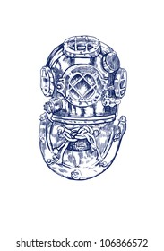 old diving helmet (part of suit), hand drawing converted to vector