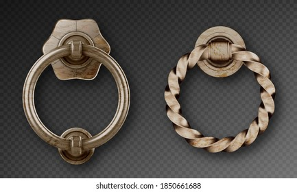 Old door knocker, ancient metal ring handle. Vector realistic set of rusty steel round doorknobs, decorative circle knobs in victorian style isolated on transparent background