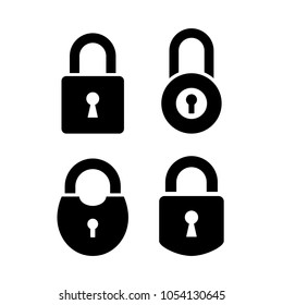 Old door lock vector icon set isolated on white background