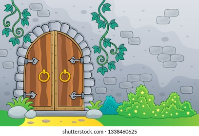 Old door theme image 2 - eps10 vector illustration.