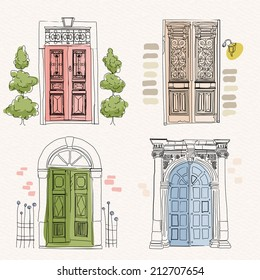 Old doors in vintage style on watercolor background. Hand drawing. Doodle design. Vector illustration.