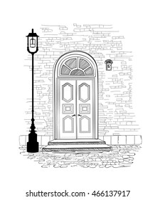 Old doors in vintage style over white background. House entrance hand drawing illustration. Doodle cozy street alleyway wallpaper design