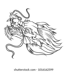 old Dragon head on white background.Chinese dragon tattoo.paper cut tribal dragon tattoo. Traditional Asian tattoo the old dragon vector.Doodle and outline style.