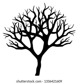 Old dry, bare tree. Black silhouette. Sketch hand drawn. Isolated on white background