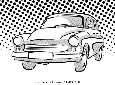 Old East German Car, Dotted Background, Vector Hand Drawn Artwork