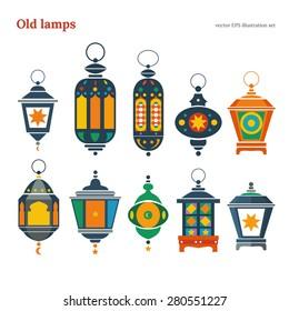 Old east lamp vector illustration pack set