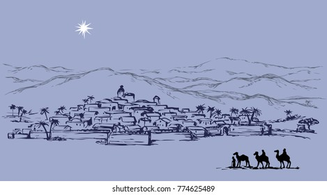 Old east xmas journey bible scene. Historic comet go to jewish messiah village. Black ink hand drawing noel gospel story picture as antique art cartoon card with copyspace for text on dark evening sky