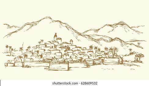 Old eastern biblical rural scenic view with stone wall and edifice. Freehand outline ink hand drawn picture sketch in art retro engraved graphic style pen on paper and space for text on sky background
