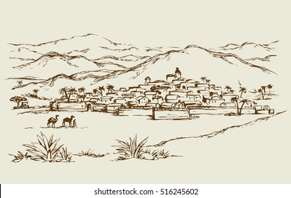 Old eastern vintage biblical rural scenic view with rock stone wall and edifice. Freehand outline ink hand drawn picture sketch in art retro engraved graphic style and space for text on sky background