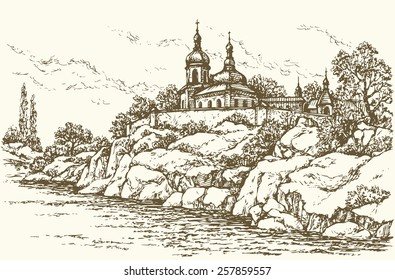 Old edifice of orthodox monastery a stone wall in scaur over rivulet. Vector monochrome freehand ink drawn background sketchy in art doodle antiquity style pen on paper with space for text on sky