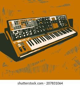 Old electronic synthesizer graphic illustration
