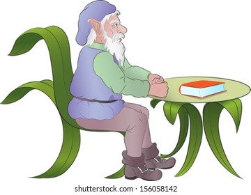 old elf sitting at a table made of leaves with a book upon it