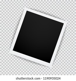 Old empty realistic photo frame with transparent shadow on plaid black white background. Polaroid photo border  to family album. Vector illustration for your design and business.