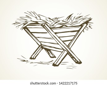 Old empty wood livestock rack on night shed card backdrop. Line dark black ink hand drawn cute infant Lord messiah nursery trough love logo sign picture in ancient art doodle style on paper text space