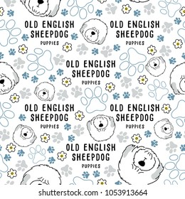 Old English Sheepdog : Dog breed collection : Seamless Pattern : Vector Illustration