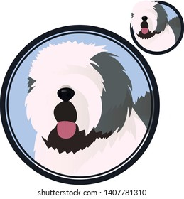 Old english sheepdog head in circle