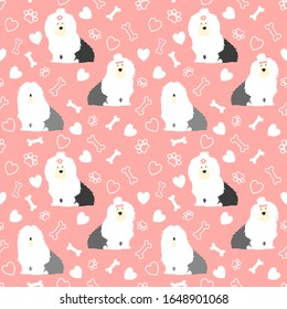 Old English Sheepdog seamless pattern background with hand drawn bones, paws and hearts. Cartoon dog  background. Great for wallpaper, kids apparel,fabric, textile, nursery decoration,wrapping paper