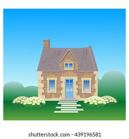 The old English stone house. Colorful set: house, hydrangea flowers and lawn . Flat style vector illustration.