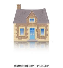 The old English stone house.  Flat style vector illustration isolated on white background.