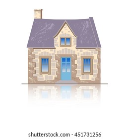 The old English stone house.  Flat style vector illustration isolated on white background.