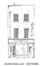 Old English town house with small shop or business on ground floor. Bond street, London. Sketch collection