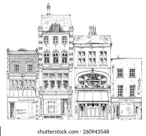 Old English town houses with small shops or business on ground floor. Bond street, London. Sketch collection