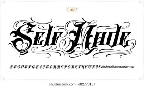 Old English Vector Lettering Set