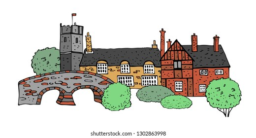 Old english village scene. Color vector sketch hand drawn illustration. Cartoon outline houses facades, bridge and plants isolated on white background