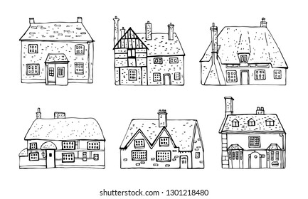 Old english village vector sketch hand drawn illustration. Set of cartoon outline houses facades   isolated on white background
