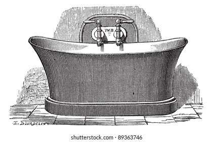 Old engraved illustration of copper bathtub, which is established for public bathing. Industrial encyclopedia E.-O. Lami - 1875.