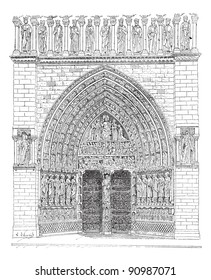 Old engraved illustration of front gate in the middle of Notre Dame Cathedral in France. Dictionary of words and things - Larive and Fleury - 1895