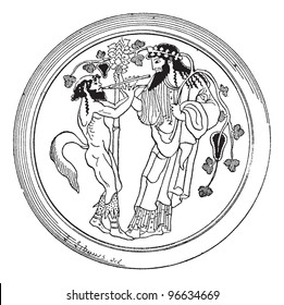 Old engraved illustration of Satyr and Dionysus painted on the bottom of a cup (Berlin Museum) isolated on a white background. Dictionary of words and things - Larive and Fleury - 1895