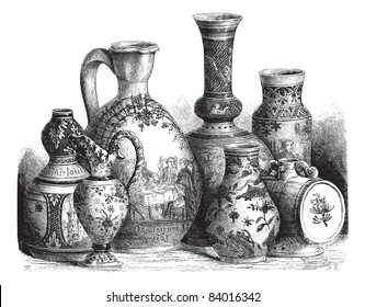 Old engraved illustration of various earthenware of Nevers faience (Tin-glazed pottery) drawing by Edouard Garnier, 1874. Le Magasin Pittoresque ? 1874.