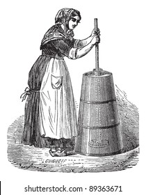Old engraved illustration of Woman churning butter with ordinary plunger. Industrial encyclopedia E.-O. Lami - 1875.