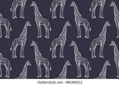 Old engraving giraffes. Vector illustration seamless pattern. White and black. African animals.