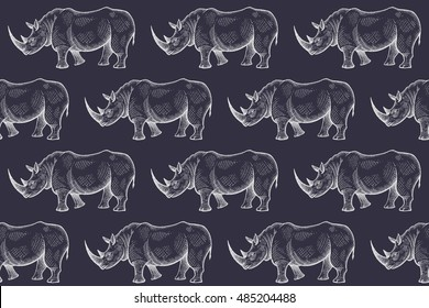 Antiguo rinoceronte grabado. Ilustración vectorial sin problemas. Blanco y negro. Animales africanos.