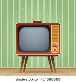 Old entertainment television. Old tv vector illustration, color vintage television entertainment media