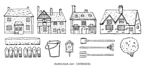 Old Europe coutryside houses, plants and  garden tools. Vector sketch outline hand drawn illustration isolated on white background