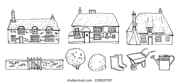 Old Europe coutryside houses, plants and tools. Vector sketch outline hand drawn illustration isolated on white background