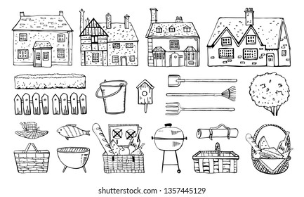 Old Europe coutryside houses, plants, picnic goods and  garden tools. Vector sketch outline hand drawn illustration isolated on white background