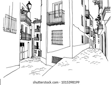 Old European city street in hand drawn line sketch style. Urban romantic landscape. Black and white vector illustration on white background