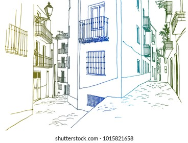 Old European city street in hand drawn line sketch style. Urban romantic landscape. Colorful vector illustration on white background