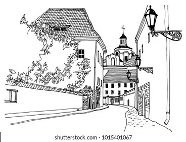 Old European city street with three street lights in hand drawn line sketch style. Urban romantic landscape. Black and white vector illustration on white background