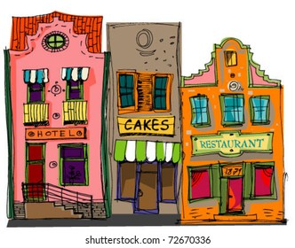 Old european facades. Vintage architecture and elements. Cartoon. Caricature.