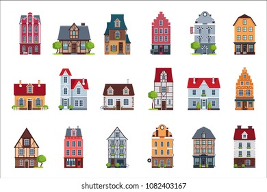 Old European houses facade set, colorful houses of different architectural styles vector Illustrations on a white background