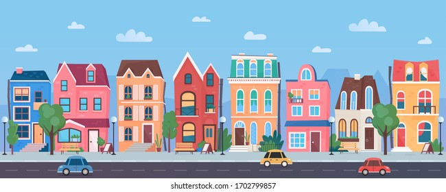 Old european town cartoon vector illustration panorama. Horizontal traditional cityscape from road and cars, street in sunny day. Background with blue sky, clouds, trees, funny three storey buildings