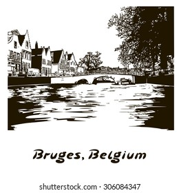 Old European Town. Line drawing - beautiful view in Bruges, Belgium. Canal with house and bridge. Vector illustration on white background
