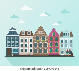 Old european town  vector flat illustration.
