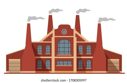 Old factory building facade and chimneys.Vector flat illustration. Air pollution.Isolated on a white background.